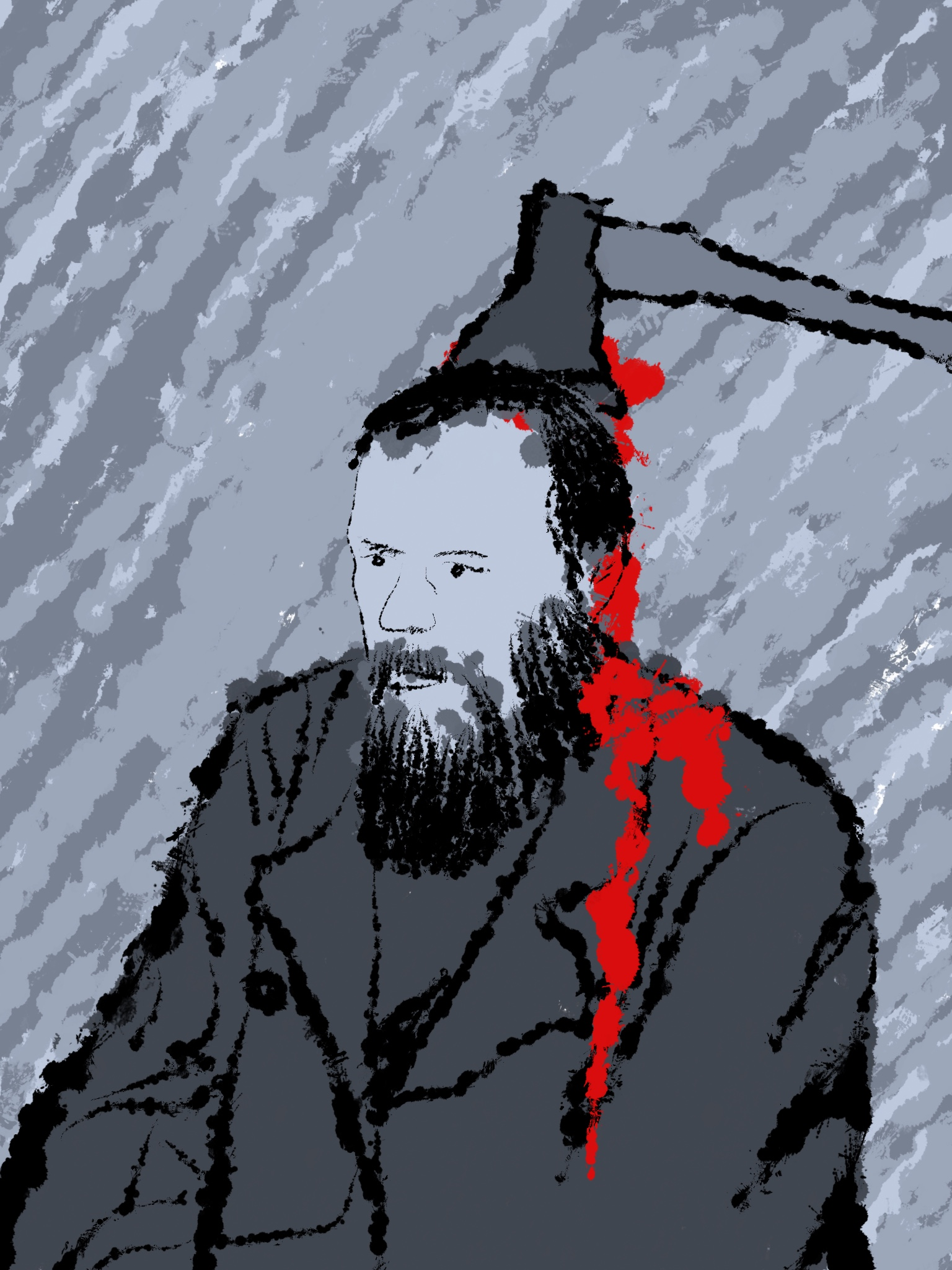 10 - Dostoyevsky (d, s) Fyodor Dostoyevsky with an axe in his head